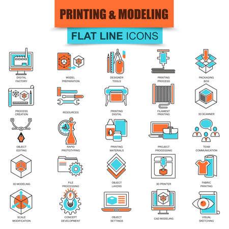 prototipo: Conjunto de iconos de línea fina impresión 3D y la tecnología de modelado. mono moderna lineal plana concepto de pictograma, conjunto simple icono del contorno, símbolo para los gráficos y diseñadores web. icono de la línea plana colección. Vectores
