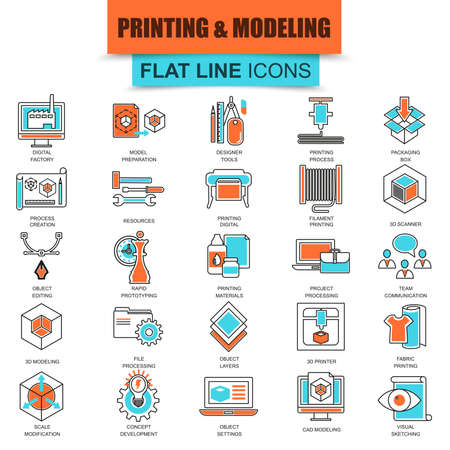 printing icon: Set of thin line icons 3D printing and modeling technology. Modern mono flat linear concept pictogram, set simple outline icon, symbol for graphics and web designers. Collection flat line icon. Illustration