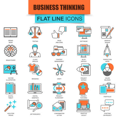 web icon: Set of thin line icons business content management, usability thinking. Modern mono flat linear concept pictogram, set simple outline icon, symbol for web designers. Collection flat line icon. Illustration