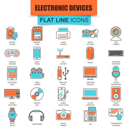 computer icons: Set of thin line icons computer electronics and multimedia devices. Modern mono flat linear concept pictogram, set simple outline icon symbol for graphics and web designers. Collection flat line icon.