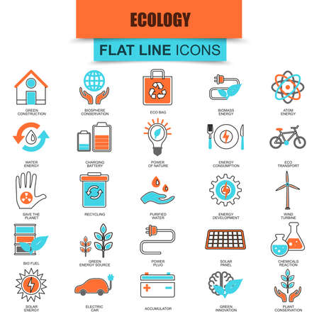 source: Set of thin line icons ecological energy source, environmental safety, environment, renewable energy, sustainable technology, recycling, ecology solutions. Mono flat icon. Collection flat line icon.