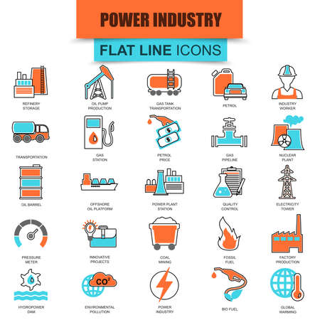 power industry: Set of thin line icons power plant, extraction of various resources, electricity industry. Modern mono flat linear concept pictogram, set simple outline icon, symbol. Collection flat line icon.