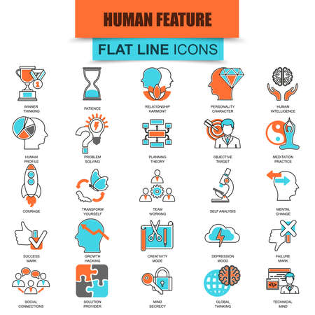 imaginative: Set of thin line icons various mental features of human brain. Modern mono flat linear concept pictogram, set simple outline icon, symbol for graphics and web designers. Collection flat line icon. Illustration