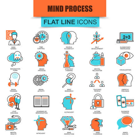 mind set: Set of thin line icons human mind process, brain features and emotions. Modern mono flat linear concept pictogram, set simple outline icon, symbol for web designers. Collection flat line icon.