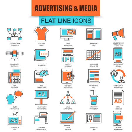 Set of thin line icons advertising media channels and ads distribution, digital marketing, promotions. Modern mono flat linear concept pictogram, set simple outline icon. Collection flat line icon.