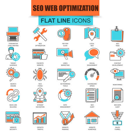 seo: Set of thin line icons search engine optimization tools for growth traffic. Seo optimization and development website. Mono flat linear concept pictogram, set outline icon. Collection flat line icon.