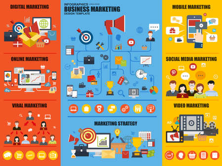 digital media: Flat infographic digital marketing vector design template. Can be used for marketing strategy, viral and video marketing, online and social media marketing, mobile marketing. Set infographic elements.