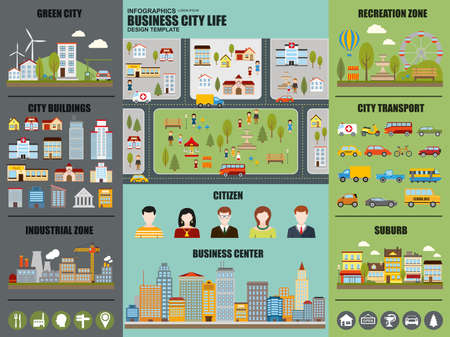Flat infographic city life vector design. Can be used for green city, recreation zone, city buildings, industrial zone, city transport, suburb, citizen, business center. Set infographic elements.