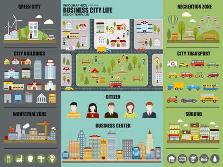 Wohnung Infografik Stadtleben Vektor-Design. Kann für die grüne Stadt, Erholungszone, Stadtgebäude, Industriegebiet, Stadtverkehr, vorort, Bürger, Business Center nutzen. Set Infografik-Elemente.