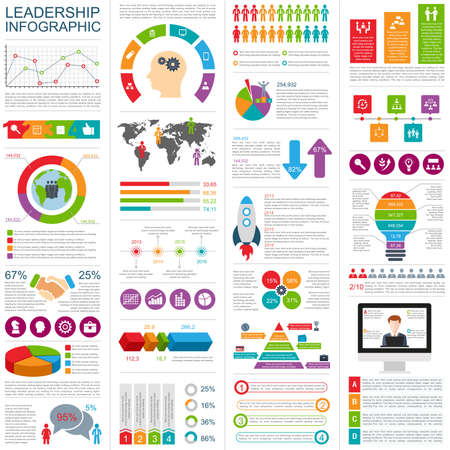 Set of infographic design template. Can be used for workflow layout, annual report, business concept with 6 options, timeline, steps or processes, teamwork, cycle diagram, chart, web design. Stock Illustratie