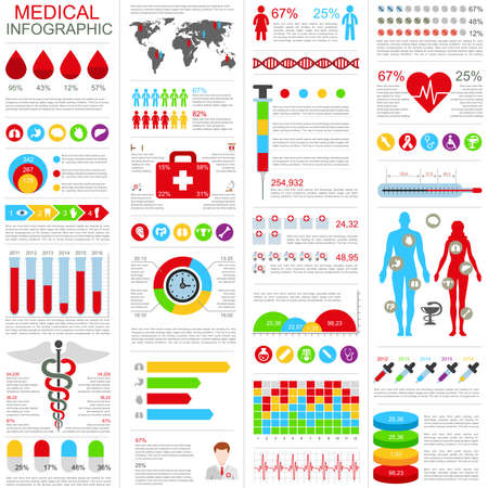disease prevention: Set of medical infographic design template. Can be used for healthcare services, online support, health care insurance, disease prevention, parts, banner, cycle diagram, chart, web design. Illustration