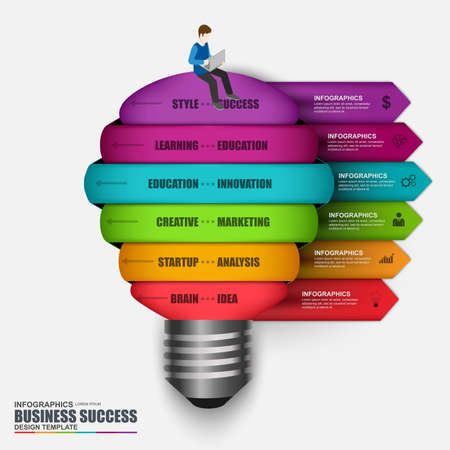 light bulb: Infographic business light bulb design template. Can be used for workflow layout, data visualization, business concept with 6 options, parts, steps or processes, banner, diagram, web design.