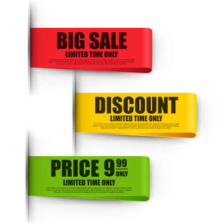 discount tag: Set of color paper sale ribbon stickers design template on white background. Can be used for e-commerce, banner, discount label, tag, shopping, poster, advertising, postcard.