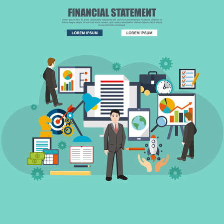 analisys: Flat design of financial statement, workflow layout. Modern vector illustration concept for website or infographics.