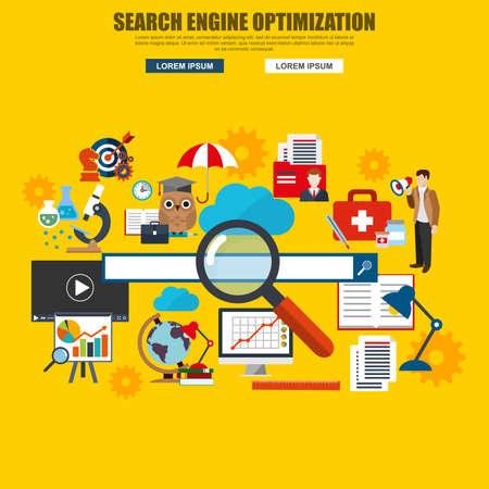 search engine optimization: Flat design of search engine optimization service, SEO data analytics and keyword process. Modern vector illustration concept for website or infographics. Illustration