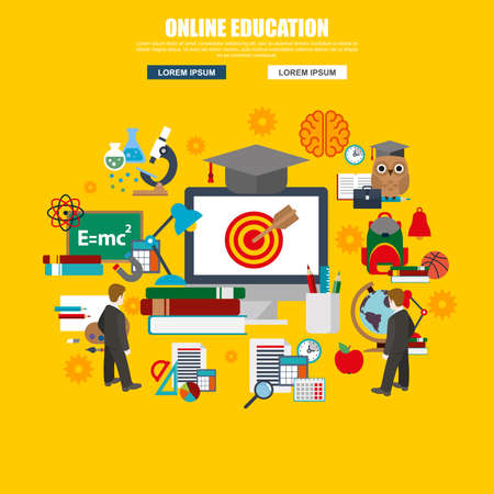 abroad: Flat design of internet education and online course study, e-learning. Modern vector illustration concept for website or infographics.