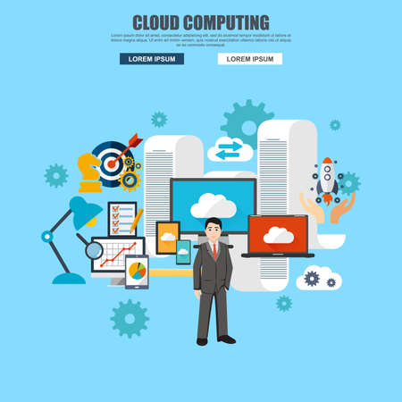 cloud computing services: Flat design of cloud computing services and technology, data storage. Modern vector illustration concept for website or infographics. Illustration