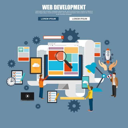 customization: Flat design of web design and development, web coding, API programming and customization, seo optimization. Modern vector illustration concept for website or infographics. Illustration
