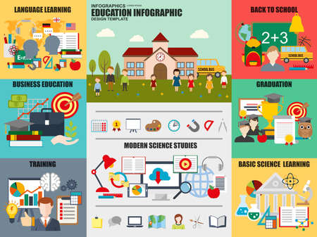 knowledge business: Set of flat infographic business education vector design template. Can be used for workflow processes, language learning, training, back to school, graduation, basic science, knowledge, university.