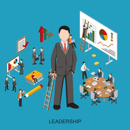 gestion empresarial: Plana 3D isométrica de gestión de proyectos, capacitación en liderazgo empresarial y la carrera corporativa. Moderno concepto de ilustración vectorial para el sitio web o la infografía.
