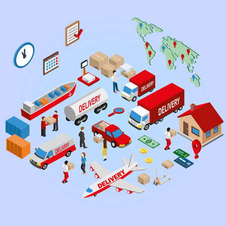 traceability: Flat 3d Isometric worldwide express delivery concept. Set of transportation icon. Logistics service vehicle, fleet truck, ship, airplane. Vector illustration. Illustration