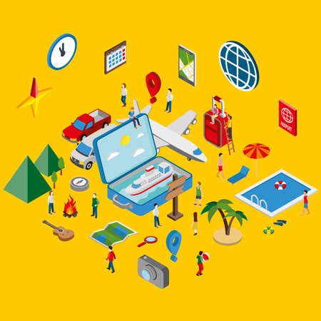 people travelling: Flat 3d isometric concept summertime travel vacation. Infographic tourism vector design template. Open suitcase with a sea and ship. Travelling illustration. Creative people collection. Illustration