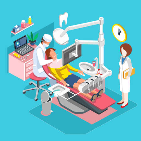 whitening: Flat 3d isometric concept people dentistry, dental center of implantation tooth, hygiene and whitening oral surgery, dentist and patient. Clinic room vector illustration.