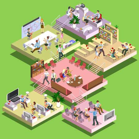 esquema: central plana 3D isométrico concepto de negocio de varios pisos de oficinas con el esquema de pisos y actividades. Recepción, reunión de negocios, formación, trabajo en equipo, sala de liderazgo, lugares de trabajo, grupos de enfoque creativo. Vectores