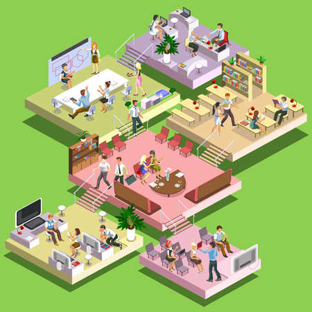 business reception: Flat 3d isometric concept business multistoried office center with scheme of floors and activities. Reception,business meeting, training, teamwork, leadership room, workplaces, creative focus group.