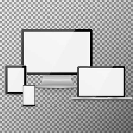 ultimate: Ultimate web design electronic devices on transparent background, isolated vector illustration. Illustration