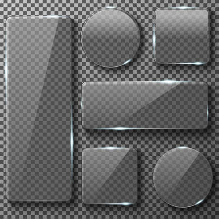 Transparent glass plates of different shapes. Square, circle, rectangular app buttons on checkered background. Blank empty, shiny and glossy. Vector illustration icons set. 일러스트