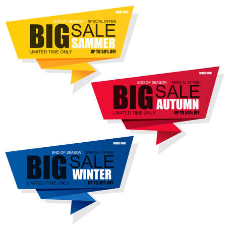 Set of sale banner vector design template on white background. Can be used for summer, autumn, winter discount sticker, origami label, paper tag, shopping, poster, advertising, postcard.