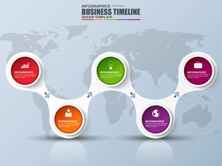 Infographic timeline vector design template. Can be used for workflow layout, report, business concept with 5 options, parts, steps or processes, number options, banner, diagram, chart, web design.