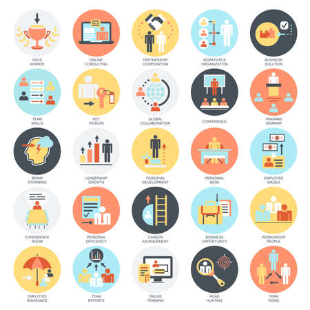 Flat conceptual icons set of corporate development, business leadership training and corporate career. Concepts for website and graphic design. Mobile and print media. Isolated on white background.