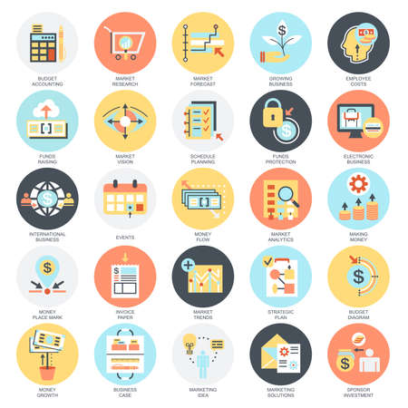 analisys: Flat conceptual icons set of market and economics, financial services, money savings. Concepts for website and graphic design. Mobile and print media. Isolated on white background.