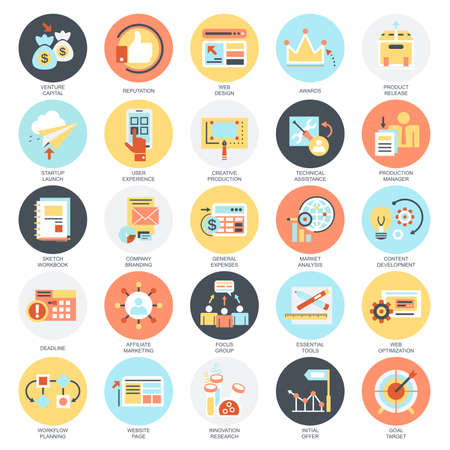 focus: Flat conceptual icons set of business startup, market vision, development and mission. Concepts for website and graphic design. Mobile and print media. Isolated on white background.