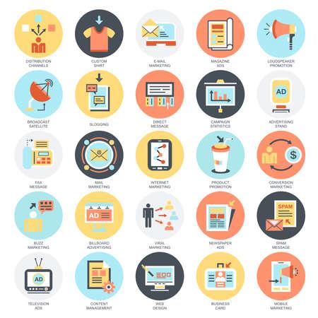 iconos conceptuales planas conjunto de canales de los medios de publicidad y distribución de anuncios, marketing digital. Conceptos para el sitio web y diseño gráfico. Móvil y medios impresos. Aislado en el fondo blanco.