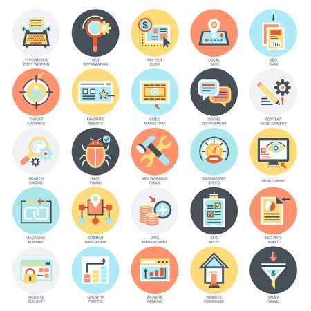 focus: Flat conceptual icons set of search engine optimization tools for growth traffic, web seo. Concepts for website and graphic design. Mobile and print media. Isolated on white background.