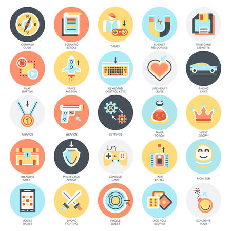Flat conceptual icons set of game objects, mobile gaming elements. Concepts for website and graphic design. Mobile and print media. Isolated on white background. Vectores