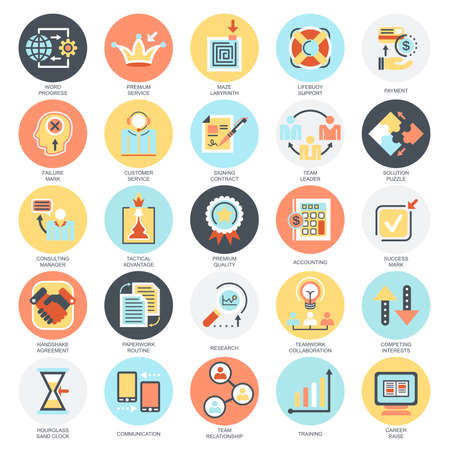 Flat conceptual icons set of doing business elements, solution for clients, business strategy. Concepts for website and graphic design. Mobile and print media. Isolated on white background.