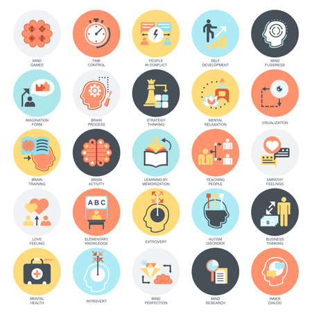 Flat conceptual icons set of human mind process, brain features and emotions. Concepts for website and graphic design. Mobile and print media. Isolated on white background. Stock Illustratie