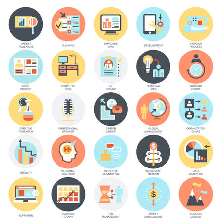 Flat conceptual icons set of business management, leadership and corporate manager. Concepts for website and graphic design. Mobile and print media. Isolated on white background. Illusztráció