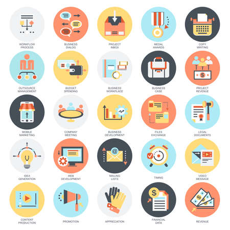 Flat conceptual icons set of project management, business leadership. Concepts for website and graphic design. Mobile and print media. Isolated on white background. Illustration
