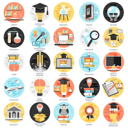 평면 개념 아이콘 다시 학교로, 생각하는 법을 배워야, 온라인 교육, 비디오 자습서, 직원 교육, 학습, 지식을 설정합니다. 웹 사이트 및 그래픽 디자인 일러스트