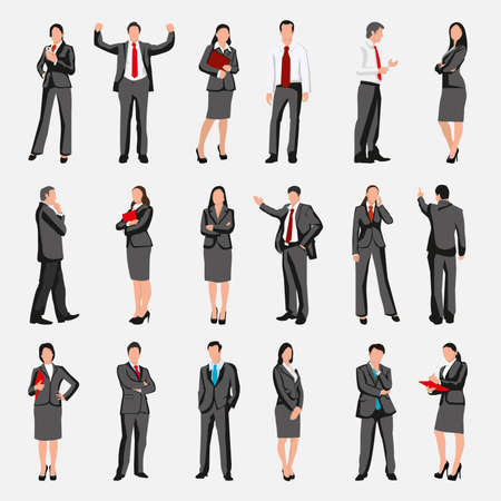 professional people: Set of businessman character poses, gestures and actions. Office worker professional standing, leadership, business woman. Creative people collection. Vector illustration.