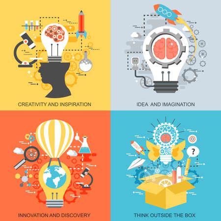 Piatti icone concettuali insieme di creatività e ispirazione, idea e l'immaginazione, l'innovazione e la scoperta, pensare fuori dagli schemi. Concetti per il sito web e graphic design. Mobile e supporti di stampa. Vettoriali