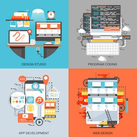 Flat conceptual icons set of creative office workspace art studio, program coding, app and web development. Concepts for website and graphic design. Mobile and print media. Vektoros illusztráció