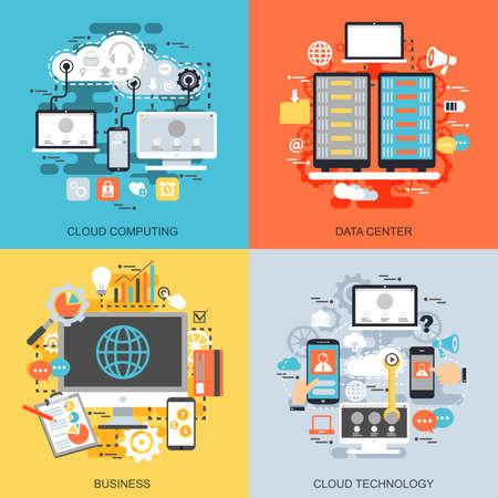 Conjunto de iconos conceptuales planos de servicios de tecnología de datos en la nube, conexión global, computación en la nube, centro de datos, procesos de negocio. Conceptos para sitio web y diseño gráfico. Medios móviles e impresos.