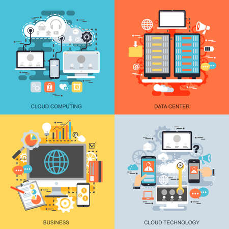 Flat conceptual icons set of cloud data technology services, global connection, cloud computing, data center, business processes. Concepts for website and graphic design. Mobile and print media.