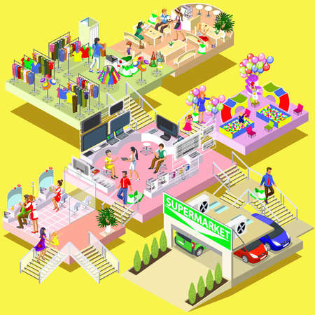 Flat 3d isometric multistory shopping mall concept vector. Store, parking, beauty salon, entertainment room for children, restaurant and cafe, walking shoppers, sale, retail, multi-use center. Illustration